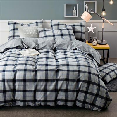 年全棉水洗棉纯色系三件套 1.0m(3.3英尺)床 Y-11-090(灰蓝格-银灰)