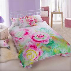 全棉40S全工艺13372活性印花四件套 1.8m(6英尺)床 悠然花香