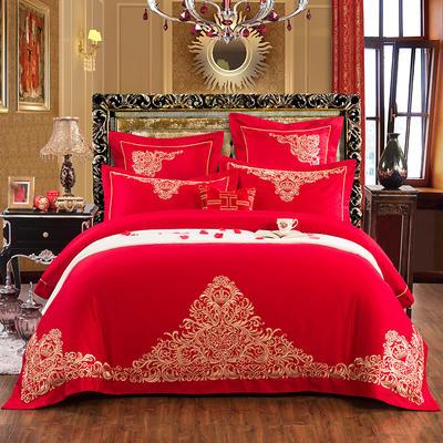 新款-婚庆60贡缎长绒棉四件套 标准(1.5m-1.8m床) 罗曼罗兰