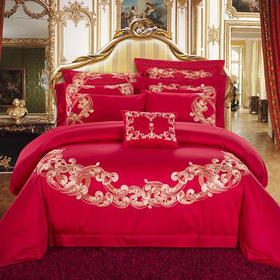新款-婚庆60贡缎长绒棉四件套 标准(1.5m-1.8m床) 玛丽安娜