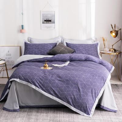 13372拼角工艺时尚款四件套 1.5m(5英尺)床 戴维-紫