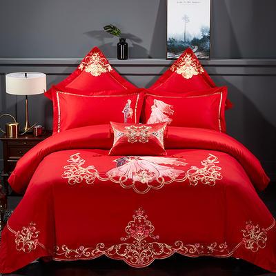 新款-婚庆60S贡缎提花绣花四件套 标准(1.5m-1.8m床) 甜蜜时光-棉