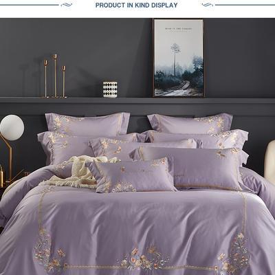 2019新品60支长绒棉刺绣系列 1.8m(6英尺)床 秘境丁香紫