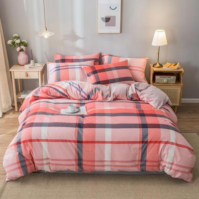 2020新款-水洗棉条纹四件套 床单款1.5m(5英尺)床 巴黎红-浅粉10