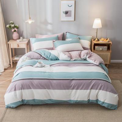 2020新款-水洗棉条纹四件套 床单款1.5m(5英尺)床 草绿-浅粉4