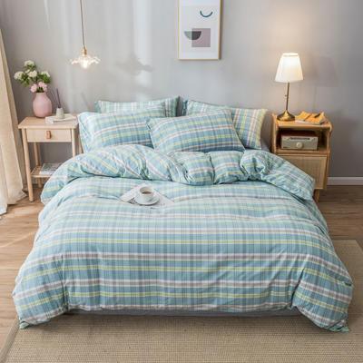 2020新款-水洗棉条纹四件套 床单款1.5m(5英尺)床 初念-兰5