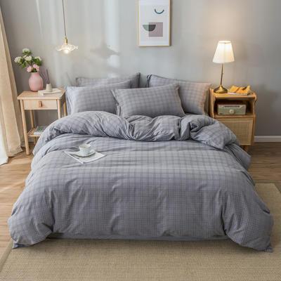 2020新款-水洗棉条纹四件套 床单款1.5m(5英尺)床 渡口-灰12