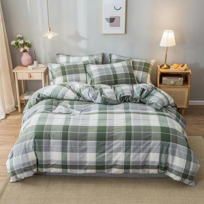 2020新款-水洗棉条纹四件套 床单款1.5m(5英尺)床 拉丁-灰9