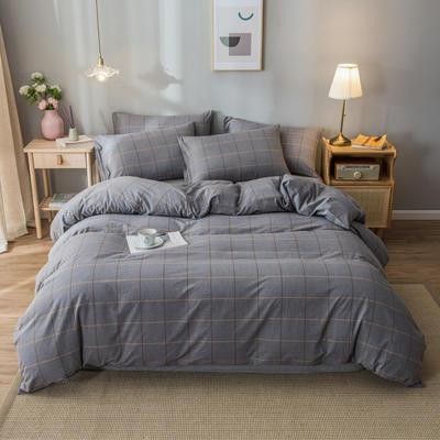 2020新款-水洗棉条纹四件套 床单款1.5m(5英尺)床 梦想-银灰13