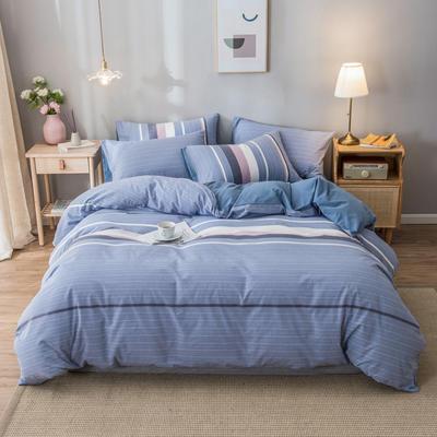 2020新款-水洗棉条纹四件套 床单款1.5m(5英尺)床 米拉-兰7