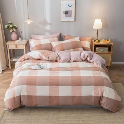 2020新款-水洗棉条纹四件套 床单款1.5m(5英尺)床 蜜粉大格-浅粉3