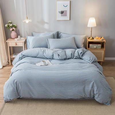 2020新款-水洗棉条纹四件套 床单款1.5m(5英尺)床 浅兰小格-兰6