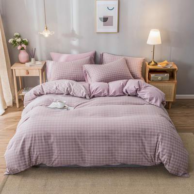 2020新款-水洗棉条纹四件套 床单款1.5m(5英尺)床 小布丁-豆沙1