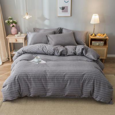2020新款-水洗棉条纹四件套 床单款1.5m(5英尺)床 星月-灰11