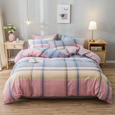 2020新款-水洗棉条纹四件套 床单款1.5m(5英尺)床 优韵-豆沙14