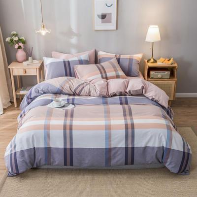 2020新款-水洗棉条纹四件套 床单款1.5m(5英尺)床 优韵-浅粉2
