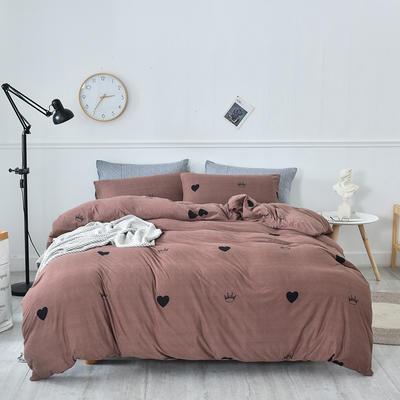 2020新款-超柔莱卡针织棉四件套 床单款四件套1.5m(5英尺)床 爱心皇冠-咖