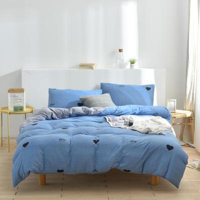 2020新款-超柔莱卡针织棉四件套 床单款四件套1.5m(5英尺)床 爱心皇冠-蓝