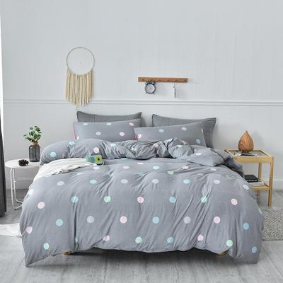 2020新款-超柔莱卡针织棉四件套 床单款四件套1.5m(5英尺)床 波点圆圈-粉