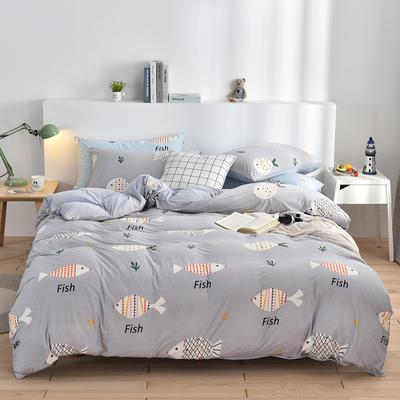 2020新款-超柔莱卡针织棉四件套 床单款四件套1.5m(5英尺)床 多宝鱼-灰