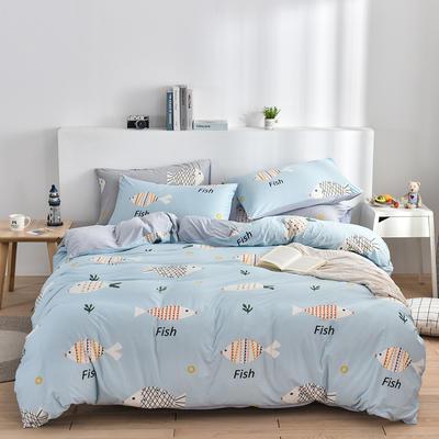 2020新款-超柔莱卡针织棉四件套 床单款四件套1.5m(5英尺)床 多宝鱼兰-灰