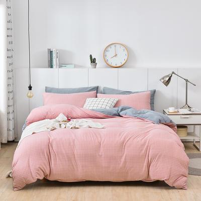 2020新款-超柔莱卡针织棉四件套 床单款四件套1.5m(5英尺)床 格韵粉-银灰