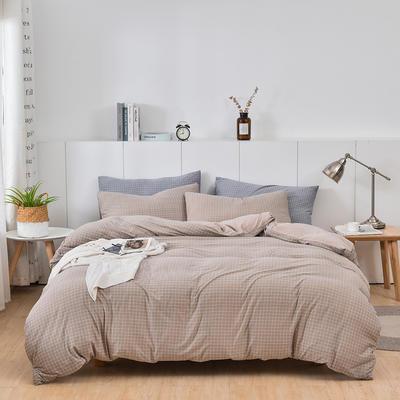2020新款-超柔莱卡针织棉四件套 床单款四件套1.5m(5英尺)床 格韵-咖