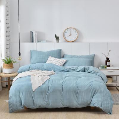 2020新款-超柔莱卡针织棉四件套 床单款四件套1.5m(5英尺)床 格韵-兰