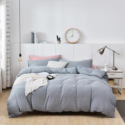 2020新款-超柔莱卡针织棉四件套 床单款四件套1.5m(5英尺)床 格韵-银灰