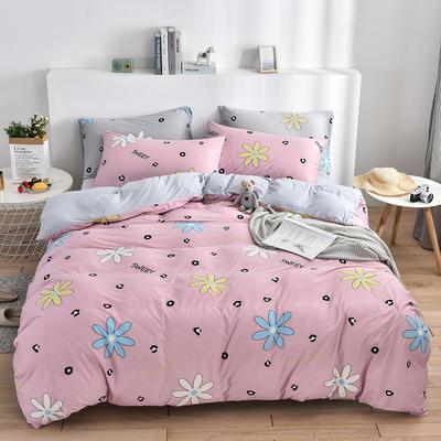 2020新款-超柔莱卡针织棉四件套 床单款四件套1.5m(5英尺)床 花间密语粉-灰