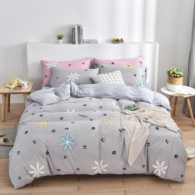 2020新款-超柔莱卡针织棉四件套 床单款四件套1.5m(5英尺)床 花间密语-灰