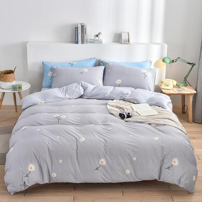 2020新款-超柔莱卡针织棉四件套 床单款四件套1.5m(5英尺)床 花语-灰