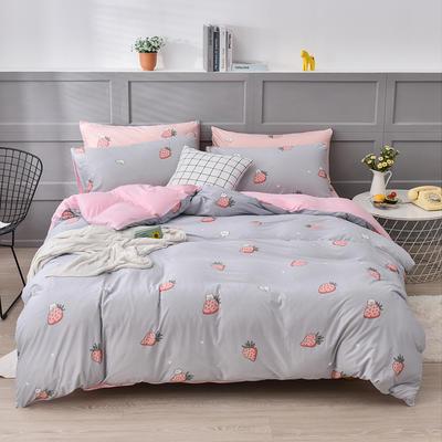 2020新款-超柔莱卡针织棉四件套 床单款四件套1.5m(5英尺)床 可爱草莓灰-粉