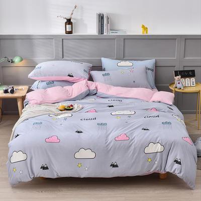 2020新款-超柔莱卡针织棉四件套 床单款四件套1.5m(5英尺)床 快乐云朵-粉
