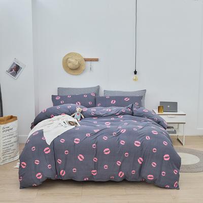 2020新款-超柔莱卡针织棉四件套 床单款四件套1.5m(5英尺)床 妙恋-粉