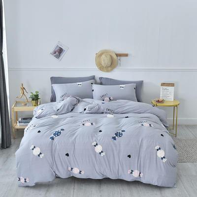 2020新款-超柔莱卡针织棉四件套 床单款四件套1.5m(5英尺)床 糖果-银灰