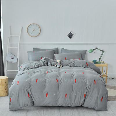 2020新款-超柔莱卡针织棉四件套 床单款四件套1.5m(5英尺)床 小辣椒-咖