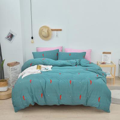 2020新款-超柔莱卡针织棉四件套 床单款四件套1.5m(5英尺)床 小辣椒-银灰