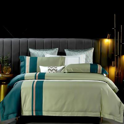 2021新款-100支长绒棉拼接系列四件套 1.8m床单款四件套 莫兰迪-芥末绿