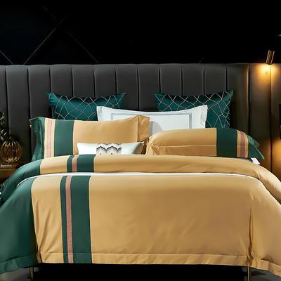 2021新款-100支长绒棉拼接系列四件套 1.5m床单款四件套 莫兰迪-靓黄