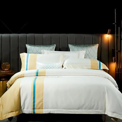 2021新款-100支长绒棉拼接系列四件套 1.8m床单款四件套 莫兰迪-奶酪白