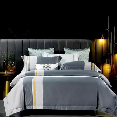 2021新款-100支长绒棉拼接系列四件套 1.8m床单款四件套 莫兰迪-绅士灰