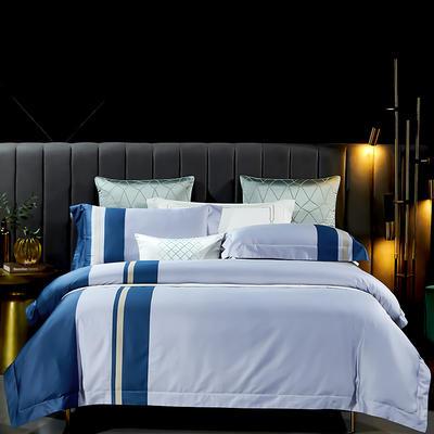 2021新款-100支长绒棉拼接系列四件套 1.8m床单款四件套 莫兰迪-雪域蓝