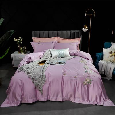 2021新款-100支高支密长绒棉绣花四件套 1.5m床单款四件套 魅惑紫