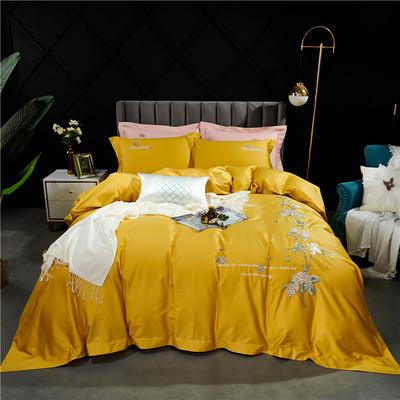 2021新款-100支高支密长绒棉绣花四件套 1.8m床单款四件套 柠檬黄