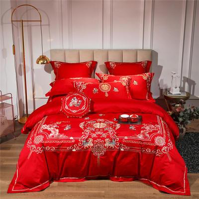 2021新款-婚庆80s长绒棉四件套 1.5m-1.8m床单款六件套 麒麟送子