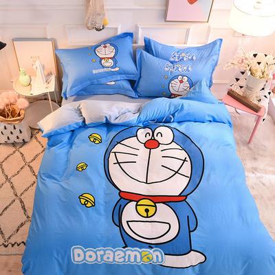 2019新品卡通加厚珊瑚绒四件套 冬季法兰绒 保暖床上儿童水晶法莱绒 A棉B绒 1.2m(床单款三件套) 叮当猫