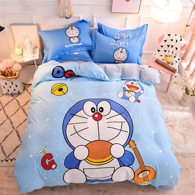 2019新品卡通加厚珊瑚绒四件套 冬季法兰绒 保暖床上儿童水晶法莱绒 A棉B绒 1.2m(床单款三件套) 神奇叮当猫