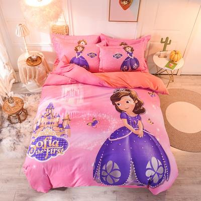 2019新品卡通加厚珊瑚绒四件套 冬季法兰绒 保暖床上儿童水晶法莱绒 A棉B绒 1.2m(床单款三件套) 索菲公主