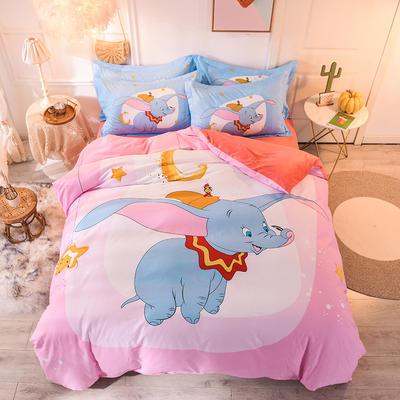 2019新品卡通加厚珊瑚绒四件套 冬季法兰绒 保暖床上儿童水晶法莱绒 A棉B绒 1.2m(床单款三件套) 小飞象